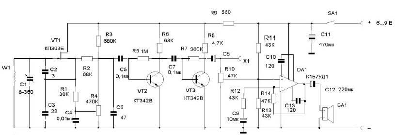 транзисторе VT1 по схеме с
